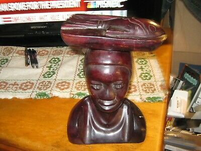 Primitive Tribal Folk Art Carved Wood Mahognny island native lady with fish
