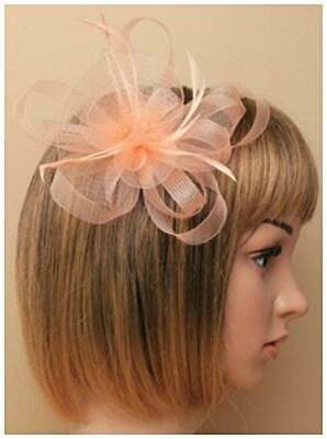 Nude pink fascinator with net loops and feathers on metal beak clip
