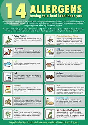 14 Food Allergens Sign Poster Laminated x 2 Safer Food Better Business SFBB