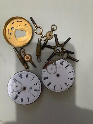 Job Lot Vintage Brass Clock Watch Faces And Keys