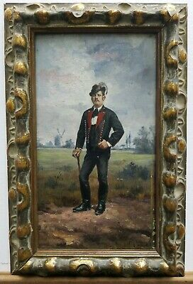 """Ferenc Toth Molnar (1867-1936) Oil Painting On Wood 10.5""""×6"""" Ca. 1893 Hungarian"""