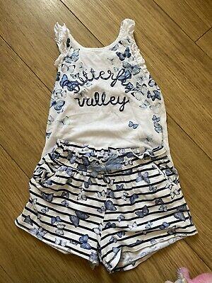 Baby Toddler Girls 2-3 Years H&M Blue Glitter Outfit Top & Shorts Set