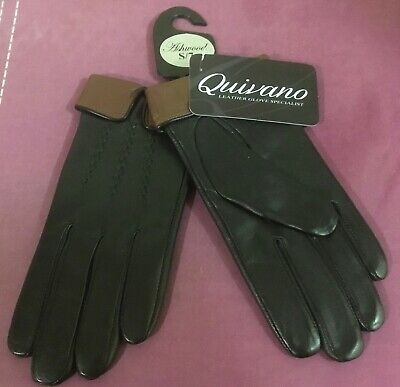 Women's 100%LEATHER GLOVES from QUIVANO in BLACK with BROWN CUFF, size S