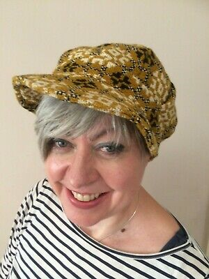 Vintage welsh wool cap in mustard with cream bobble, 1960's-70's, size small.