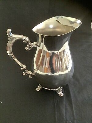 1883 FB ROGERS SILVERPLATE FOOTED WATER PITCHER w/ ICE LIP #3707