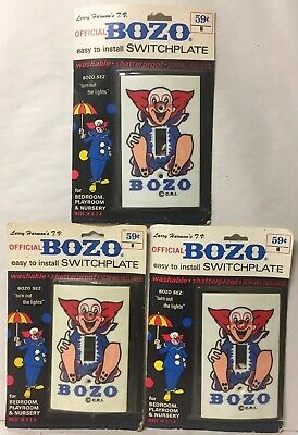 Lot Of 3 Vtg Bozo The Clown Switchplate Light Switch Cover Nip