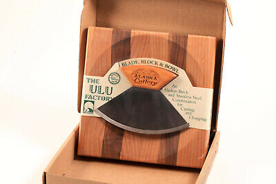 Ulu Knife Blade Block Chopping Bowl Stainless Steel & Birch Wood Alaska Cutlery