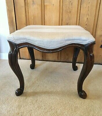 Antique Victorian Carved Mahogany Footstool, French Cabriole Legs, Scroll