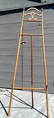 Antique Victorian Stick and Ball Oak Easel Floor Display Stand 1900 Era