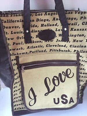 "Vintage ""I Love USA"" Travel Tote Bag With Wheels Carry-on Luggage Rare"