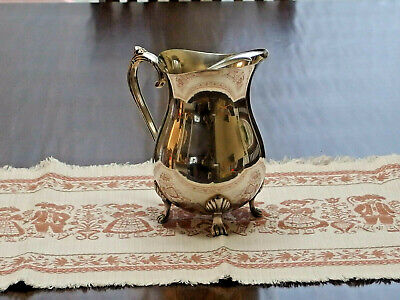 "VINTAGE Silverplated Footed 8.25""tall Pitcher w/Ice Lip made in Hong Kong PREOWN"