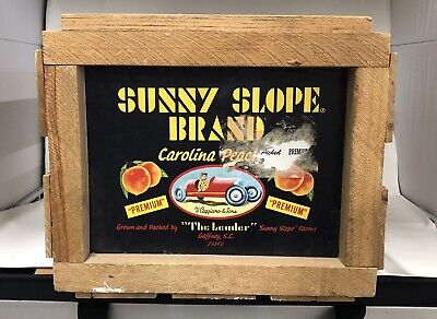 Vintage Sunny Slope Brand Wooden Carolina Peaches Fruit Crate Food Advertising