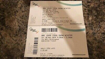 5x Tickets to Good Food Show Winter - Birmingham30november lunchtime.