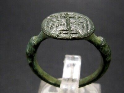 Very Rare Byzantine Seal Bronze Ring With Winged Cross Symbol+++