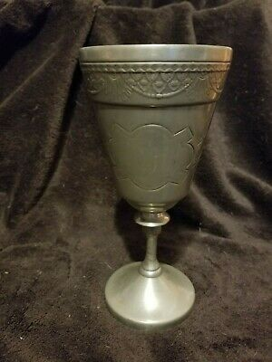 Antique Vintage Etched Wilcox Silver Plated Goblet Wine Glass