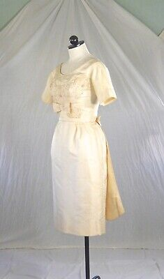 MARIE of PANDORA vintage 60s DRESS with TRAIN wedding pearls lace petite XS