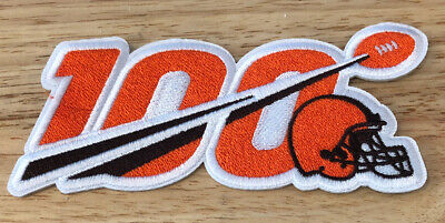 "2019 100th ANNIVERSARY 100 SEASONS CLEVELAND BROWNS NFL SHIELD PATCH 5"" IRON ON"