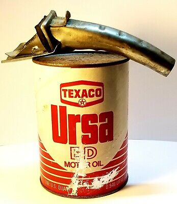 Vintage ~ Texaco Ursa Extra Duty Motor Oil Full Can With Metal Spout
