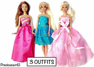 New Barbie doll clothes outfit evening gown set of 3 party dresses summer