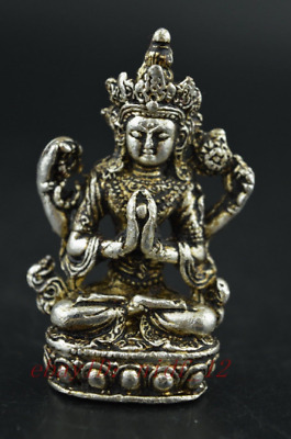 China Old Decorated Miao Silver Carving Gracious Buddha Rare Exorcise Statue