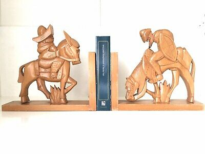 Vintage 1950s Hand Carved Mexican Sombrero Donkey Wooden Bookends Ornaments
