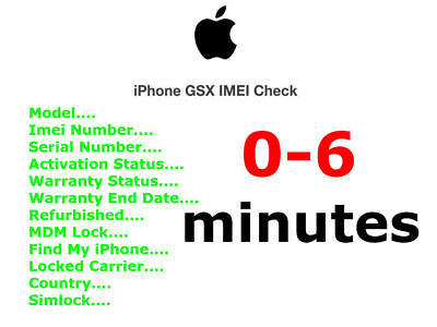 Apple iPhone Carrier Check SIM Lock Status/Carrier/FMI-On-Off 0-6 minutes *FAST*