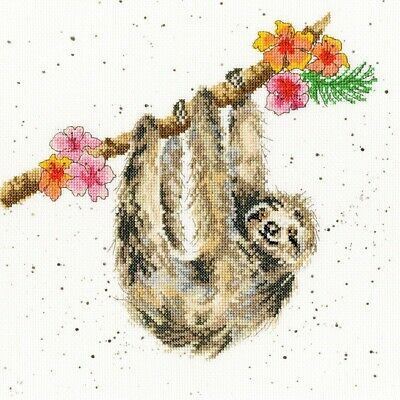 Bothy Threads Wrendale Hanging Around - Sloth Cross Stitch Kit by Hannah Dale
