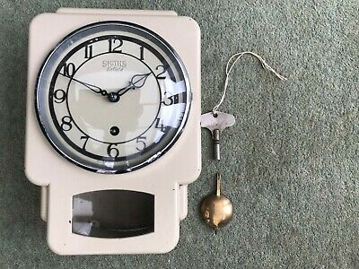 Antique Wall Kitchen Pendulum Clock Smiths Enfield Cream Metal fully working