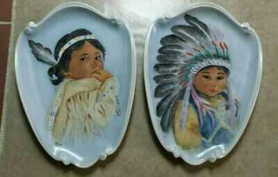 Native American children LOLA WAGERS antique Hand Painted porcelain plates EC