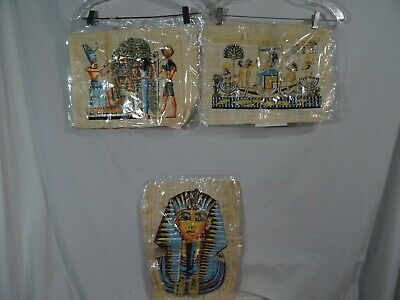 Egyptian Adel Ghabour Papyrus Paintings King Tut Queen Nefertiti 3 Watercolor