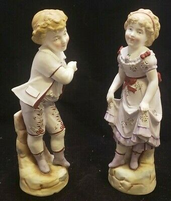 2 Antique Porcelain Figurine Bisque Colonial Victorian Dancing Boy and Girl GL7