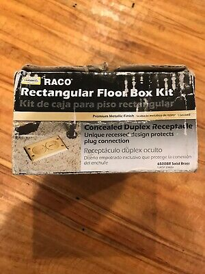 Hubbell RACO Concealed Duplex Rectangular Floor Box Kit 6500BR Brass Unopened