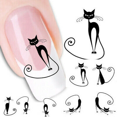 ❤️Nouveau Stickers Chat Bijoux Ongles Water Decals Manucure Nail Art