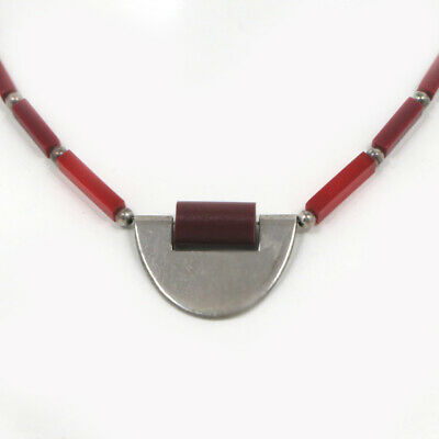 Art Deco Necklace Chrome Red Galalith Kid Style Art Deco Chain Necklace