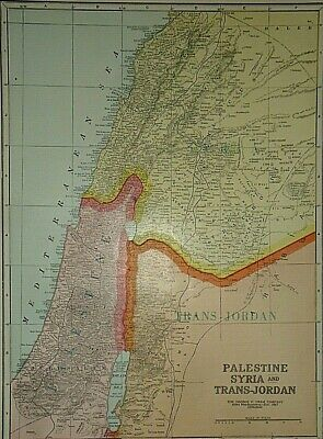 Vintage 1929 SYRIA PALESTINE TRANS-JORDAN DEAD SEA MAP Old Original & Authentic