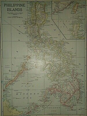 Vintage 1929 PHILIPPINE FORMOSA LUZON ISLANDS MAP Old Original Authentic