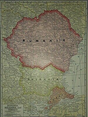 Vintage 1929 RUMANIA - BULGARIA MAP Old Original & Authentic ~ Quick N Free