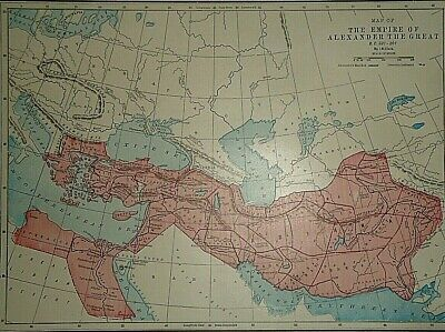 Vintage 1929 EMPIRE of ALEXANDER the GREAT MAP Old Original & Authentic