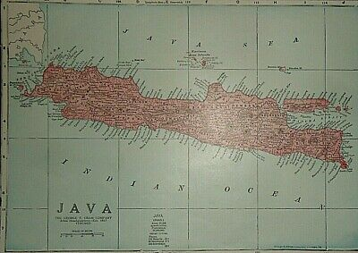 Vintage 1929 JAVA ISLAND MAP Old Original & Authentic Atlas Map ~ Quick N Free