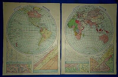 Vintage 1929 EAST WEST WORLD HEMISPHERES MAP Old Original & Authentic Atlas Maps