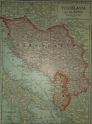 Vintage 1929 YUGOSLAVIA MAP Old Original & Authentic Atlas Map ~ Quick N Free