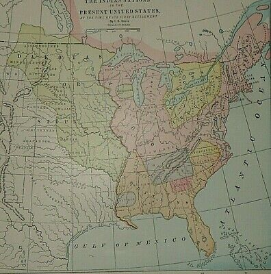 Vintage 1929 THE ORIGINAL AMERICAN INDIAN NATIONS MAP Old Original & Authentic