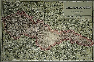 Vintage 1929 CZECHOSLOVAKIA MAP Old Original & Authentic Atlas Map Quick N Free