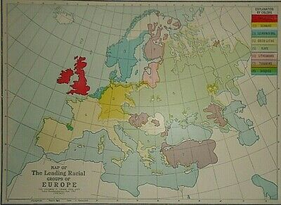 Vintage 1929 RACIAL GROUPS of EUROPE MAP Old Original & Authentic Atlas Map