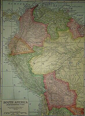 Vintage 1929 PERU BOLIVIA MAP Old Original & Authentic Atlas Map ~ Quick N Free