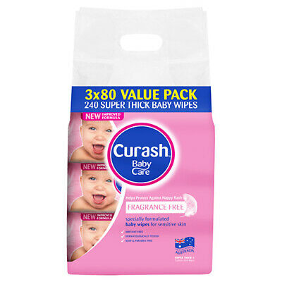 NEW Curash Nappies Wipes Fragrance Free Wipes Bulk PK Soft Strong & Gentle 240Pk