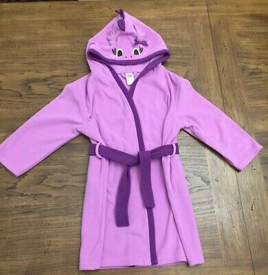 Girls (5-6) Gymboree Dragon Hooded Bath Robe Lavender Purple Belted Housecoat