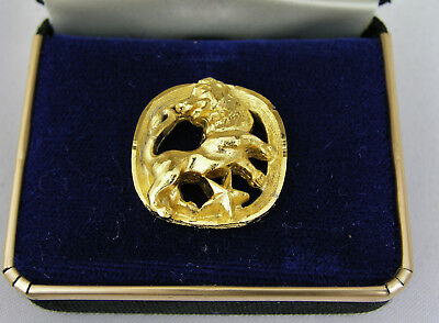 Swank Gold Plated Astrologial Zodiac Tie Tack - Leo - New Old Stock Estate