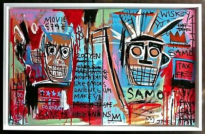 JEAN MICHEL BASQUIAT  -- A 1980s ORIGINAL ACRYLIC PAINTING ON CANVAS, SIGNED