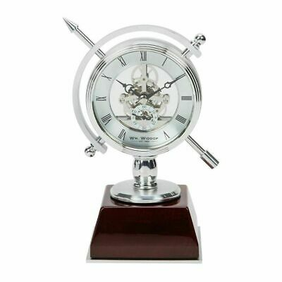 Metal Compass Style Skeleton Movement Mantel Clock On Wood Plinth Gift Boxed